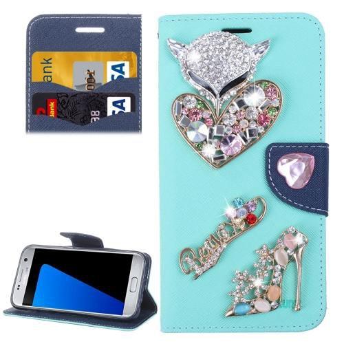 For Galaxy S7 Blue Diamond Encrusted Fairy Fox Hearts Leather Case