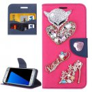 For Galaxy S7 Magenta Diamond Encrusted Fairy Fox Hearts Leather Case
