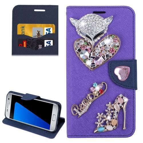For Galaxy S7 Purple Diamond Encrusted Fairy Fox Hearts Leather Case