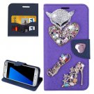 For Galaxy S7 Purple Diamond Encrusted Fairy Fox Hearts Leather Case