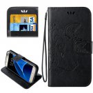 For Galaxy S7 Black Crazy Horse Printing Leather Case with Wallet
