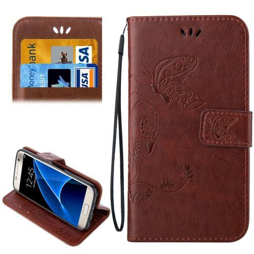 For Galaxy S7 Coffee Crazy Horse Printing Leather Case with Wallet