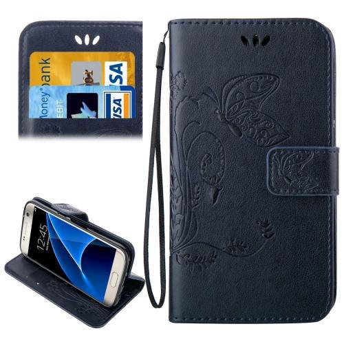 For Galaxy S7 Dark Blue Crazy Horse Printing Leather Case with Wallet
