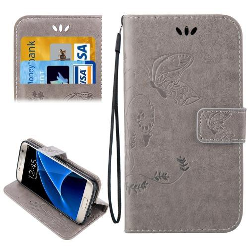 For Galaxy S7 Grey Crazy Horse Printing Leather Case with Wallet