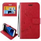 For Galaxy S7 Red Crazy Horse Printing Leather Case with Wallet