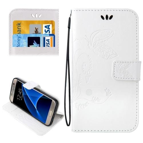 For Galaxy S7 White Crazy Horse Printing Leather Case with Wallet