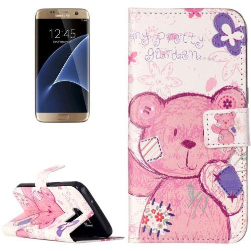 For Galaxy S7 Rilievo Bear Leather Case with Magnetic Buckle & Card Slot