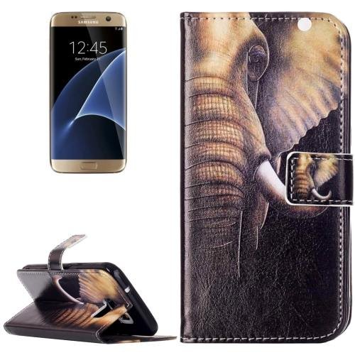 For Galaxy S7 Rilievo Elephant Leather Case with Magnetic Buckle & Card Slot