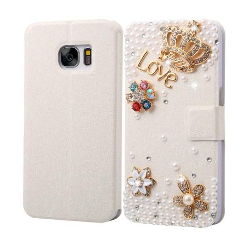 For Galaxy S7 Fevelove Diamond Crown Leather Case with Magnetic Buckle & Card Slot