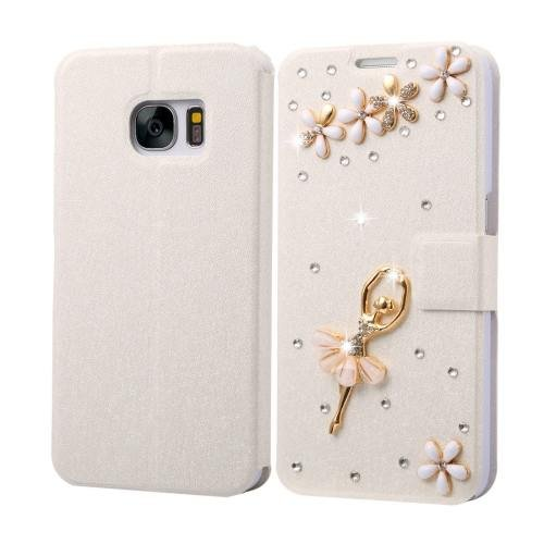 For Galaxy S7 Fevelove Diamond Girl Leather Case with Magnetic Buckle & Card Slot