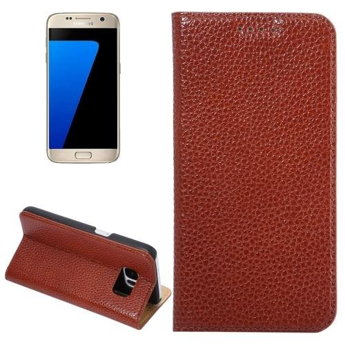 For Galaxy S7 Coffee Litchi Genuine Flip Leather Case with Holder