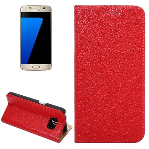 For Galaxy S7 Red Litchi Genuine Flip Leather Case with Holder
