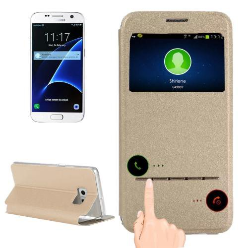 For Galaxy S7 Gold Leather Case with Holder & Call Display ID