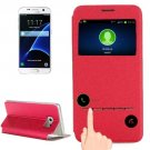 For Galaxy S7 Red Leather Case with Holder & Call Display ID