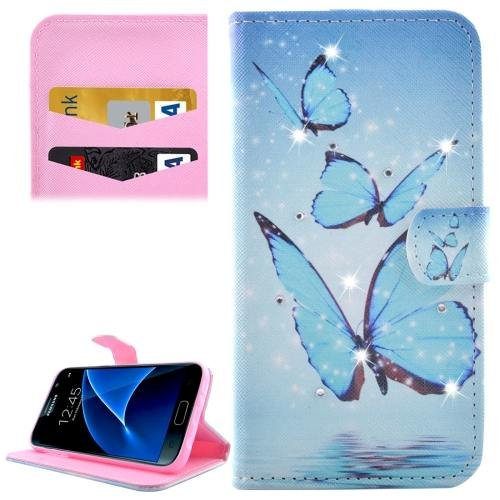 For Galaxy S7 Butterflies Diamond Encrusted Leather Case with Wallet
