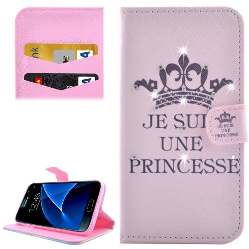 For Galaxy S7 Princess Diamond Encrusted Leather Case with Wallet