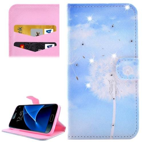 For Galaxy S7 Dandelions Diamond Encrusted Leather Case with Wallet
