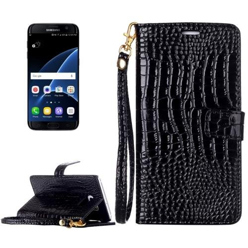 For Galaxy S7 Black Crocodile Flip Leather Case with Card Slots & Photo Frame