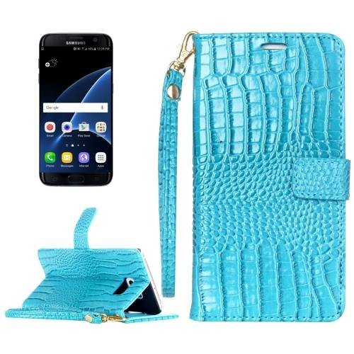 For Galaxy S7 Blue Crocodile Flip Leather Case with Card Slots & Photo Frame