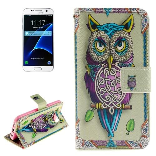 For Galaxy S7 Owl Pattern Leather Case with Holder, Card Slots & Wallet