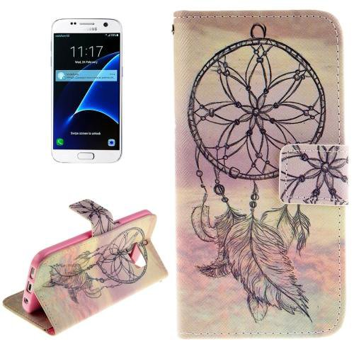 For Galaxy S7 Windbell Pattern Leather Case with Holder, Card Slots & Wallet