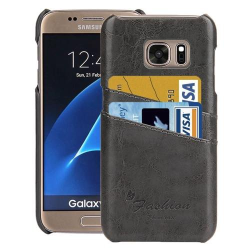 For Galaxy S7 Grey Oil Wax Leather Back Cover Case with Card Slots