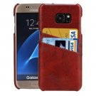 For Galaxy S7 Brown Oil Wax Leather Back Cover Case with Card Slots