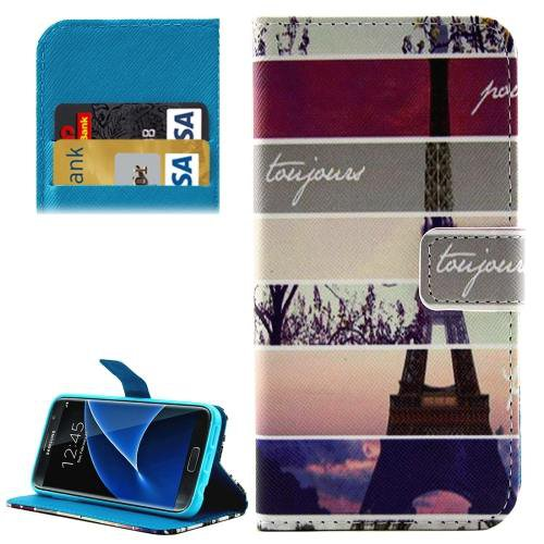 For Galaxy S7 Tower Pattern Leather Case with Holder, Card Slots & Wallet