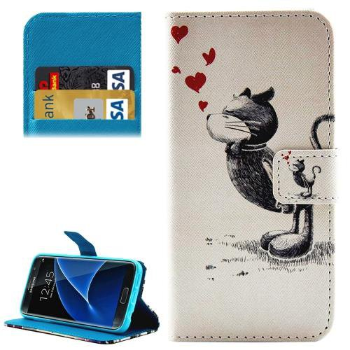 For Galaxy S7 Cat Pattern Leather Case with Holder, Card Slots & Wallet