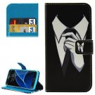 For Galaxy S7 Mens Suit Pattern Leather Case with Holder, Card Slots & Wallet
