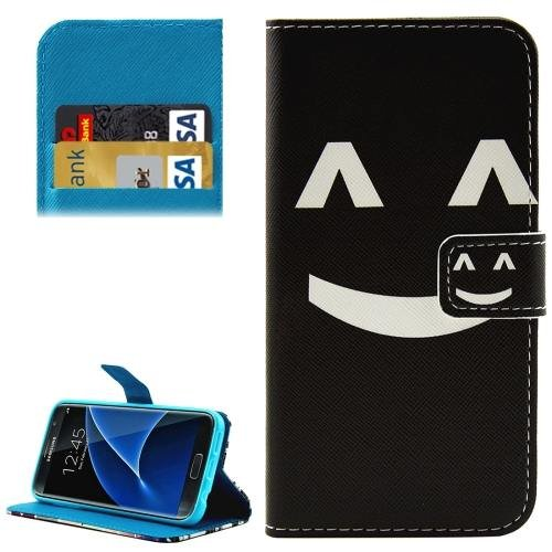 For Galaxy S7 Smiling Pattern Leather Case with Holder, Card Slots & Wallet