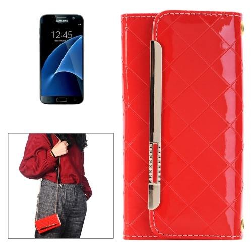 For Galaxy S7 Dark Red Flip Leather Shoulder Bag with Card Slots & Wallet