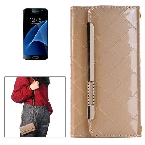 For Galaxy S7 Gold Flip Leather Shoulder Bag with Card Slots & Wallet