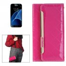 For Galaxy S7 Magenta Flip Leather Shoulder Bag with Card Slots & Wallet