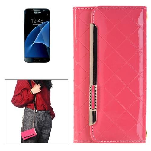 For Galaxy S7 Red Flip Leather Shoulder Bag with Card Slots & Wallet