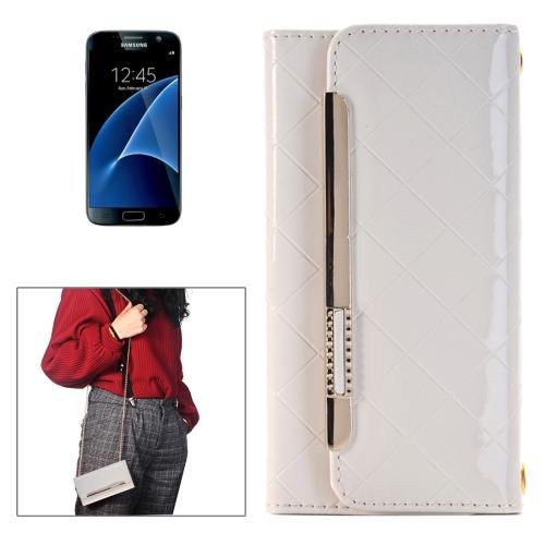 For Galaxy S7 White Flip Leather Shoulder Bag with Card Slots & Wallet