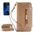 For Galaxy S7 Gold Diamond Leather Bag with Card Slots & Wallet