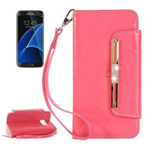 For Galaxy S7 Red Diamond Leather Bag with Card Slots & Wallet