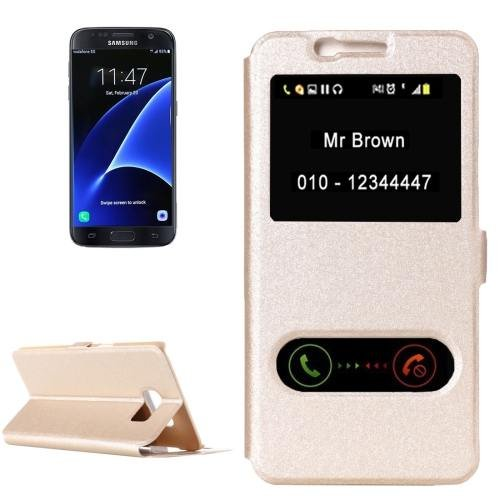 For Galaxy S7 Gold Silk Leather Case with Call Display ID & Holder
