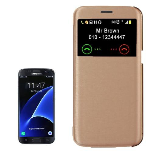 For Galaxy S7 Gold Flip Leather Case with Call Display ID