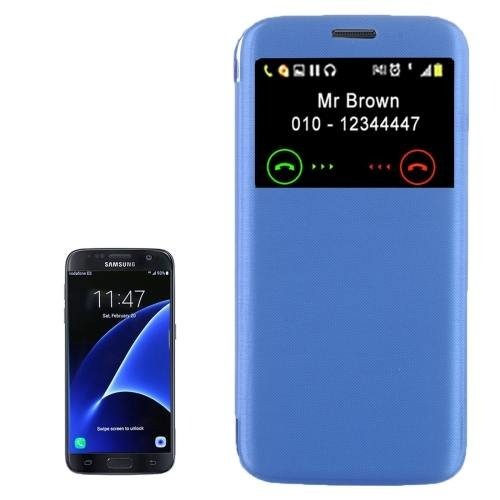 For Galaxy S7 Blue Flip Leather Case with Call Display ID