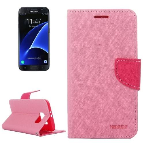 For Galaxy S7 Pink Cross Leather Case with Card Slots, Holder & Wallet