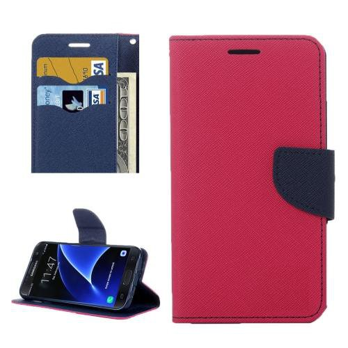 For Galaxy S7 Magenta Cross Leather Case with Card Slots, Holder & Wallet
