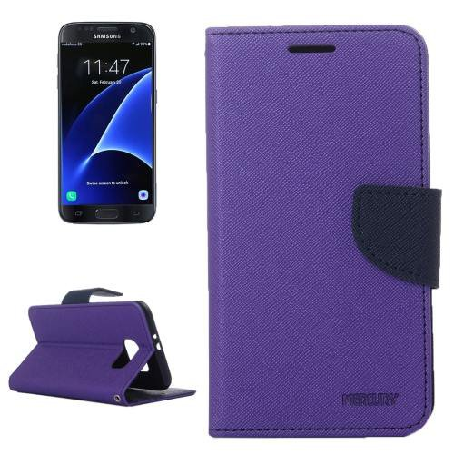 For Galaxy S7 Purple Cross Leather Case with Card Slots, Holder & Wallet