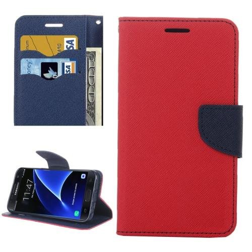 For Galaxy S7 Red Cross Leather Case with Card Slots, Holder & Wallet