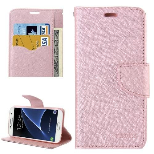 For Galaxy S7 Rose Gold Cross Leather Case with Card Slots, Holder & Wallet