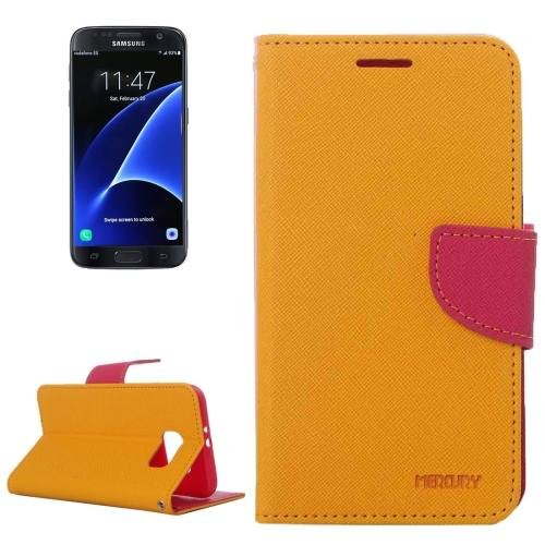 For Galaxy S7 Yellow Cross Leather Case with Card Slots, Holder & Wallet