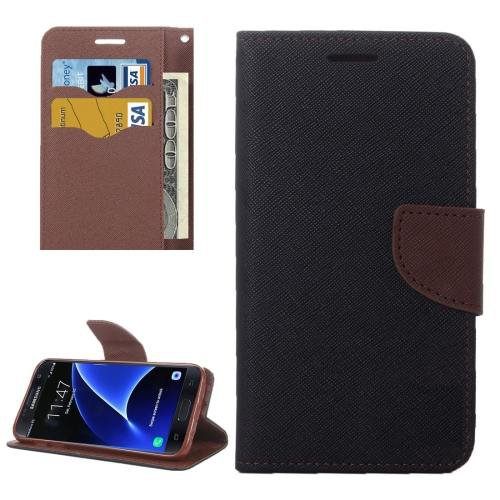 For Galaxy S7 Brown Cross Leather Case with Card Slots, Holder & Wallet