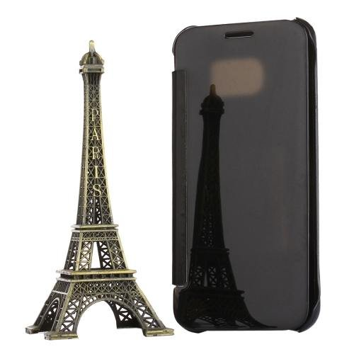 For Galaxy S7 Black Electroplating Mirror Horizontal Flip Leather Case