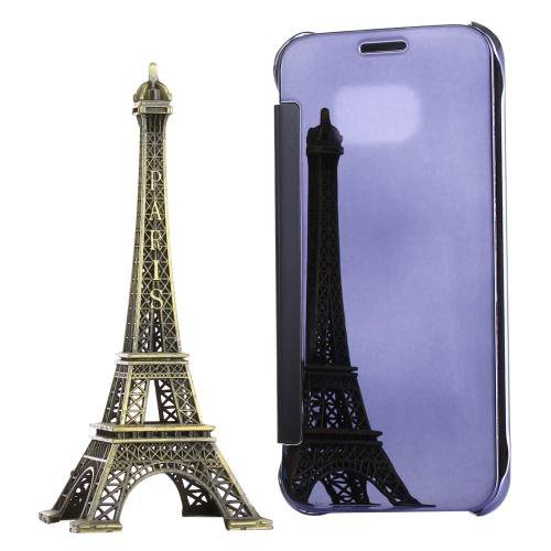 For Galaxy S7 Purple Electroplating Mirror Horizontal Flip Leather Case